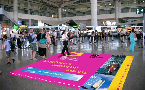 Publicidad de vinilo en los suelos